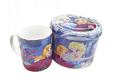 Caneca De Porcelana Na Lata Anna Elsa & Olaf Frozen 350ml