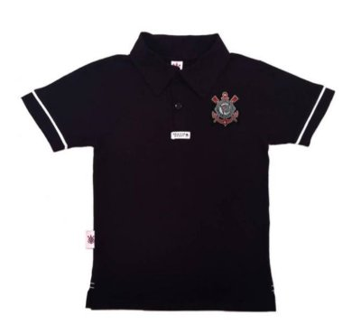 Camisa Polo Infantil Corinthians Preta Oficial