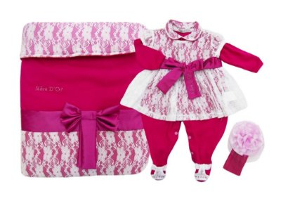 Kit Saída de Maternidade Luxo Rendado Rosa Branco Revedor