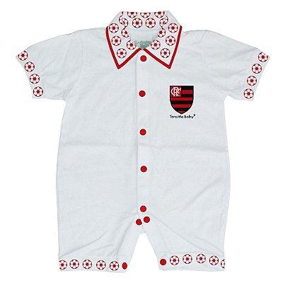 Macacão Curto Flamengo Bebê Bolinhas - Torcida Baby