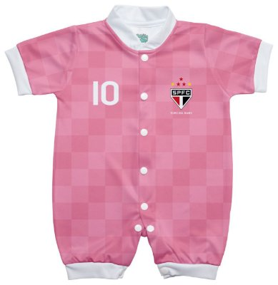Macacão Bebê São Paulo Curto Rosa - Torcida Baby