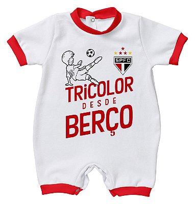 Macacão Bebê São Paulo Tricolor Desde Berço - Torcida Baby