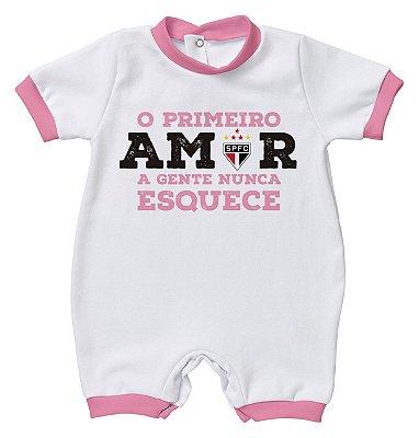 Macacão Bebê São Paulo Primeiro Amor Rosa - Torcida Baby