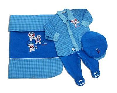 Kit Saída de Maternidade Luxo Marinheiro Azul Meninos Revedor