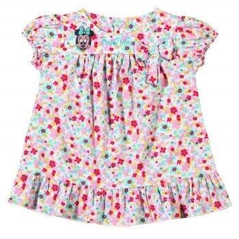 Vestido Bebê Tip Top Minnie Floral Rosa
