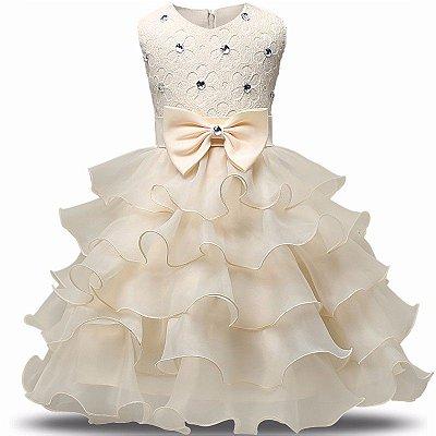 Vestido Infantil Festa Casamento Batizado Creme Laço