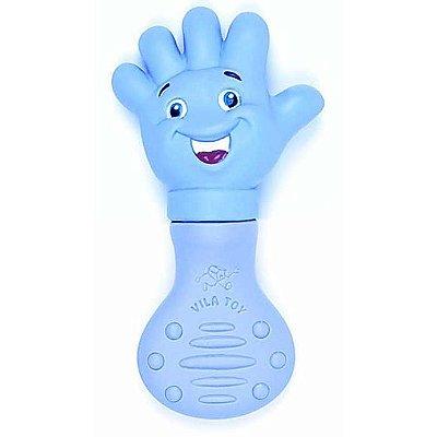Mordedor Bebê Vila Toy Mãozinha Azul