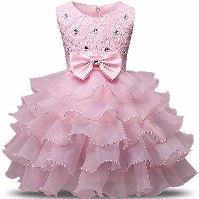 Vestido Infantil Festa Casamento Batizado Rosa Laço