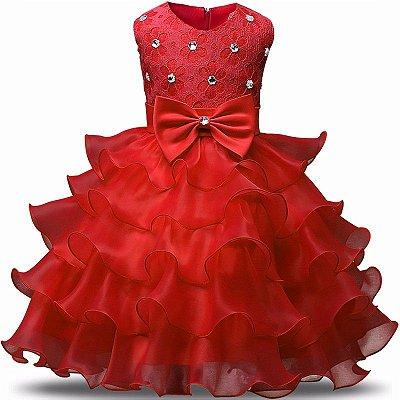 Vestido Infantil Festa Casamento Batizado Vermelho Laço