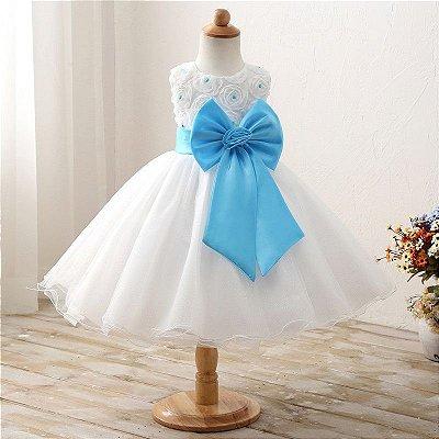 Vestido Infantil Festa Casamento Batizado Laço Azul