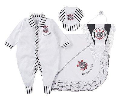 Kit Maternidade Corinthians com Manta e Boné Revedor