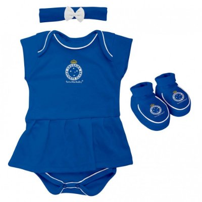 Kit Bebê Cruzeiro 3 Peças Menina Torcida Baby