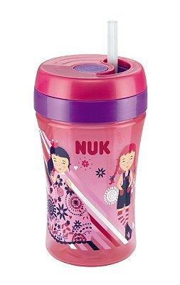 Copo com Canudo Nuk Fun Rosa 300 ml