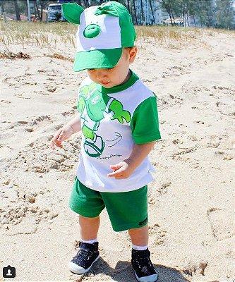 Camiseta Infantil Palmeiras Porquinho com Boné Oficial