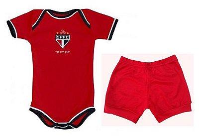 Body e Shorts São Paulo Vermelho Torcida Baby