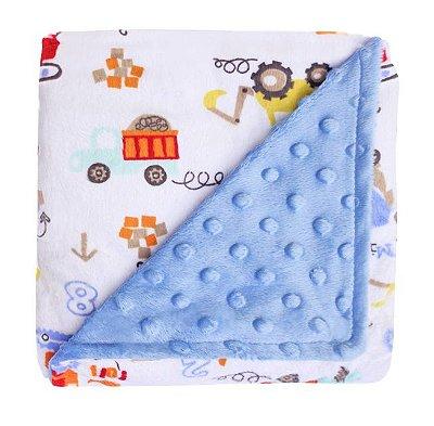 Manta Fleece Dupla Face Colorê Azul 82x82 cm - Lepper