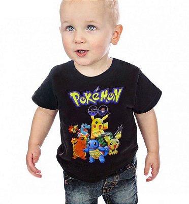 Camiseta Infantil Pokemon Preta