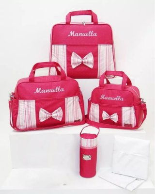 Kit Bolsas Bebe + Mala Maternidade Personalizadas Rosa 6pçs