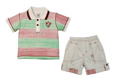Conjunto Infantil Fluminense Polo e Bermuda Oficial