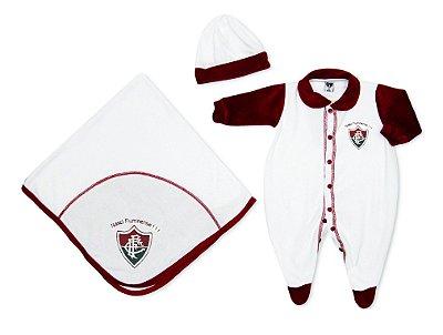 Kit Bebê Fluminense Macacão Manta e Gorro Plush - Oficial
