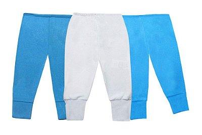 Kit Culote Azul Liso 3 Peças Meninos Revedor