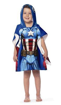 Toalha Poncho infantil com Capuz Avengers Capitão América Lepper