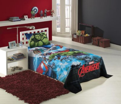 Colcha Infantil Avengers 1,50m x 2,10m Com 1 peça - Lepper