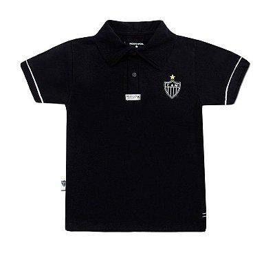 Camisa Polo Infantil Atlético MG Preta Oficial