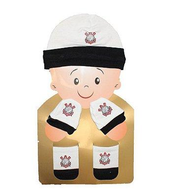 Kit Bebê 3 Pçs Corinthians Touca Luva e Meia Oficial
