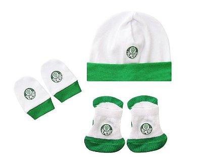 Kit Bebê 3 Pçs Palmeiras Touca Luva e Meia Oficial