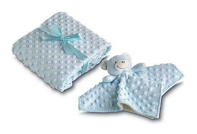 Manta Bebê Fleece Dupla Face com Naninha Azul - Lepper