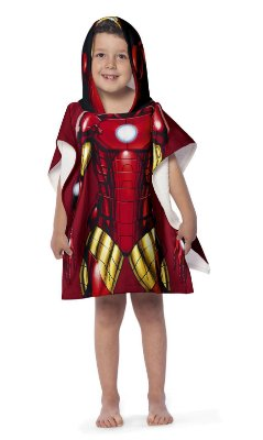 Toalha Poncho infantil com Capuz Avengers Iron Man Lepper