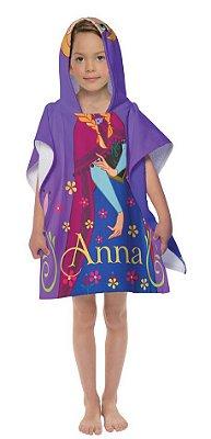 Toalha Poncho infantil com Capuz Frozen Anna Lepper