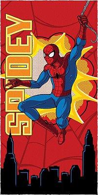 Toalha Felpuda Infantil Spider Man 60cm x 1,20m Vermelha