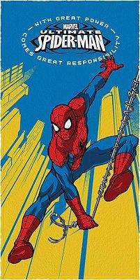 Toalha Felpuda Infantil Spider Man Azul e Amarela