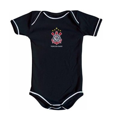 Body Corinthians Oficial Preto - Torcida Baby