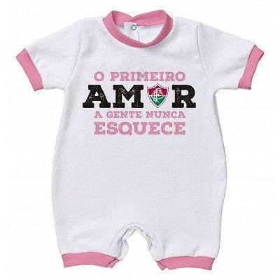 Macacão Fluminense Primeiro Amor Rosa - Torcida Baby