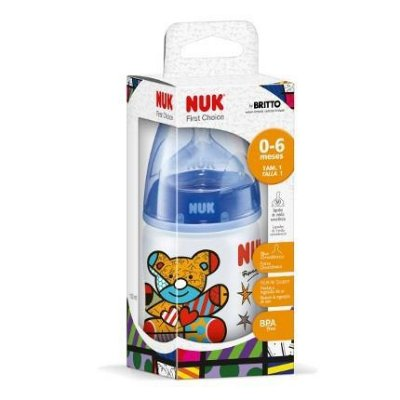 Mamadeira First Choice Romero Britto Azul 150ml Nuk
