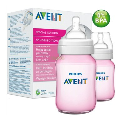 Kit com 2 Mamadeiras Philips Avent Classic 260ml Rosa