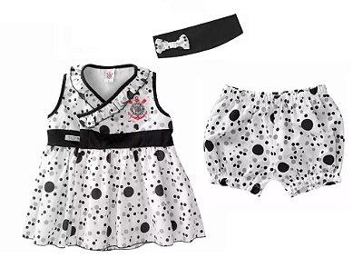 Vestido Bebê Corinthians  com Shorts e Tiara Oficial