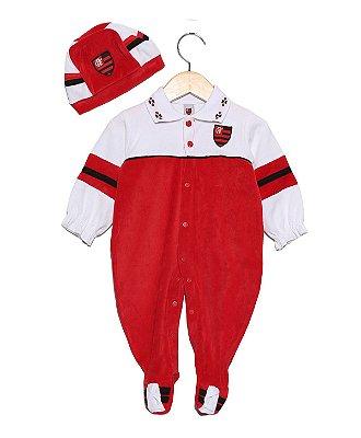 Macacão Bebê Flamengo Plush com Gorro Feminino