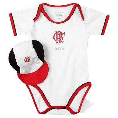 Body Bebê Flamengo com Boné Oficial