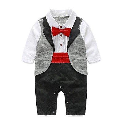 Terno Bebê Macacão Gravatinha Vermelha