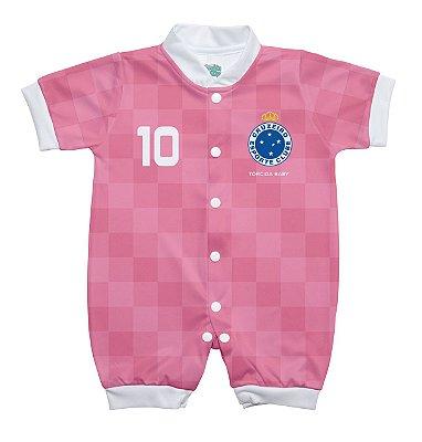 Macacão Bebê Cruzeiro Curto Rosa - Torcida Baby