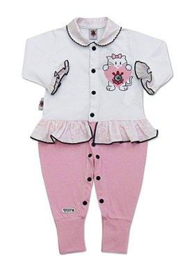 Macacão Bebê Corinthians Longo Gatinha Rosa Oficial