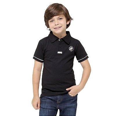 Camisa Polo Infantil Vasco Preta Oficial