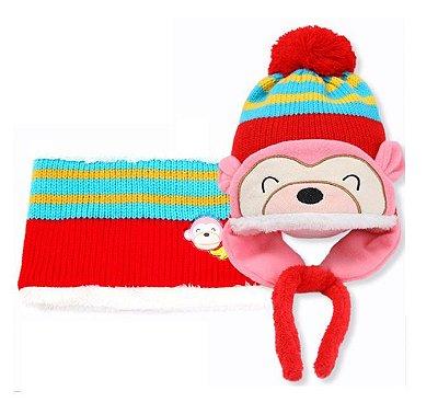 Touca Bebê Ursinha Rosa/Vermelha