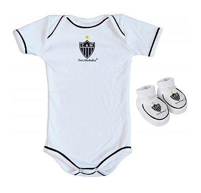 Body e Pantufa Atlético MG Branco - Torcida Baby