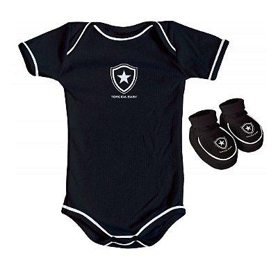 Body e Pantufa Botafogo Preto Torcida Baby