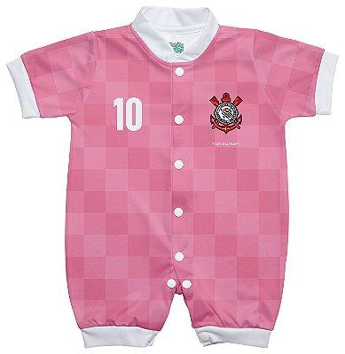 Macacão Bebê Corinthians Rosa Manga Curta - Torcida Baby